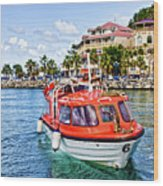 Orange Lifeboats Across Colorful Bay Wood Print