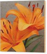 Orange Lilies 2 Wood Print
