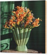 Orange Lilies In June Wood Print