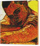Orange Man Wood Print