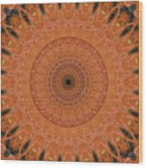 Orange Mandala Wood Print