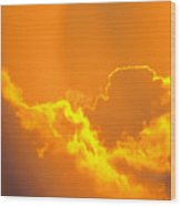 Orange Misty Sky Wood Print