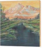 Orange Mountain Wood Print