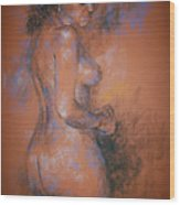 Orange Nude Wood Print