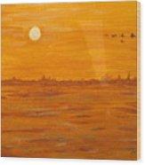Orange Ocean Wood Print