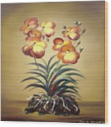 Orange Orchid Flowers Wood Print