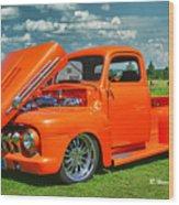 Orange Pick Up At The Car Show Wood Print