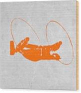 Orange Plane Wood Print by Naxart Studio