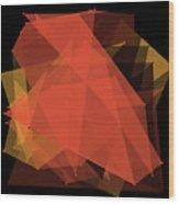 Orange Polygon Pattern Wood Print