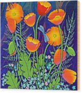 Orange Poppies And Forget Me Nots Wood Print