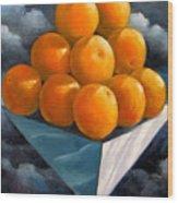 Orange Pyramid In Space Wood Print