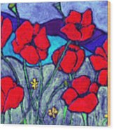 Orange  Red Poppies Wood Print