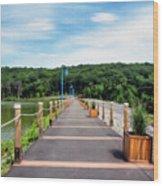 Orange Reservoir Wood Print
