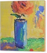 Orange Rose With Yellow Background Wood Print