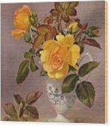 Orange Roses In A Blue And White Jug Wood Print