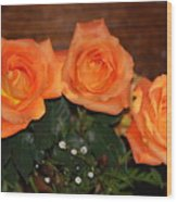 Orange Roses With Babysbreath Wood Print