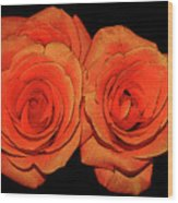 Orange Roses With Hot Wax Effects Wood Print