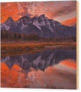 Orange Skies Over The Tetons Wood Print