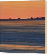 Orange Sky Above The Ice Of Kempenfelt Bay  Wood Print