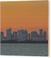 Orange Sky During Sunset With The Boston Skyline Wood Print