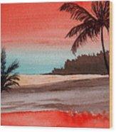 Orange Sky Of Kauai Wood Print