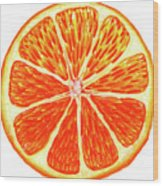 Orange Slice Wood Print
