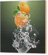 Orange Splash Wood Print