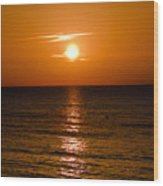 Orange Sunrise Over A Florida Beach Wood Print