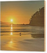 Orange Sunrise Seascape And Beach Wood Print