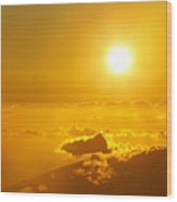 Orange Sunset - Haleakala Wood Print
