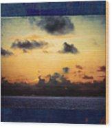 Orange Sunset Over Ocean Wood Print