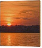 Orange Sunset Sky Island Heights Nj Wood Print