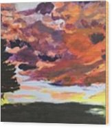 Orange Sunset Spectator Wood Print