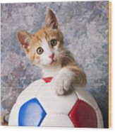 Orange Tabby Kitten With Soccer Ball Wood Print