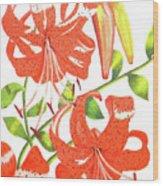 Orange Tiger Lilies Wood Print