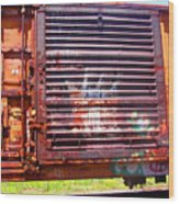 Orange Train Car Wood Print
