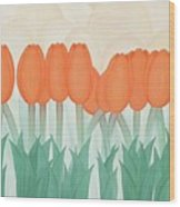 Orange Tulipans Wood Print