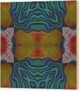 Orange Turquoise Floral Gem Wood Print