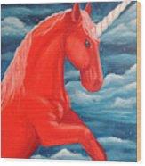 Orange Unicorn Wood Print