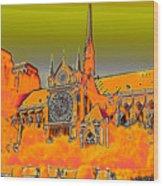 Orange Version Of Notre Dame Wood Print