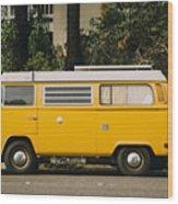 Orange Vw Bus Wood Print