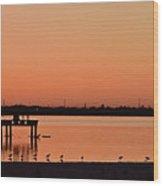Orange Waters  Wood Print
