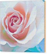 Orange White Blue Abstract Rose Wood Print by Artecco Fine Art Photography