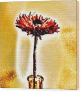 Orange Wooden Flower Wood Print
