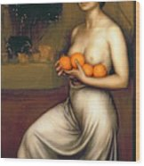 Oranges And Lemons Wood Print by Julio Romero de Torres