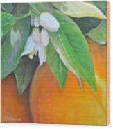 Oranges et Fleurs Wood Print