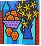 Oranges Flowers And Bottle Wood Print by John  Nolan