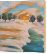Oranges In The Snow-landscape Painting By V.kelly Wood Print by Valerie Anne Kelly