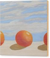 Oranges On A Ledge Wood Print
