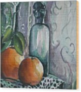 Oranges With Blue Bottle Wood Print